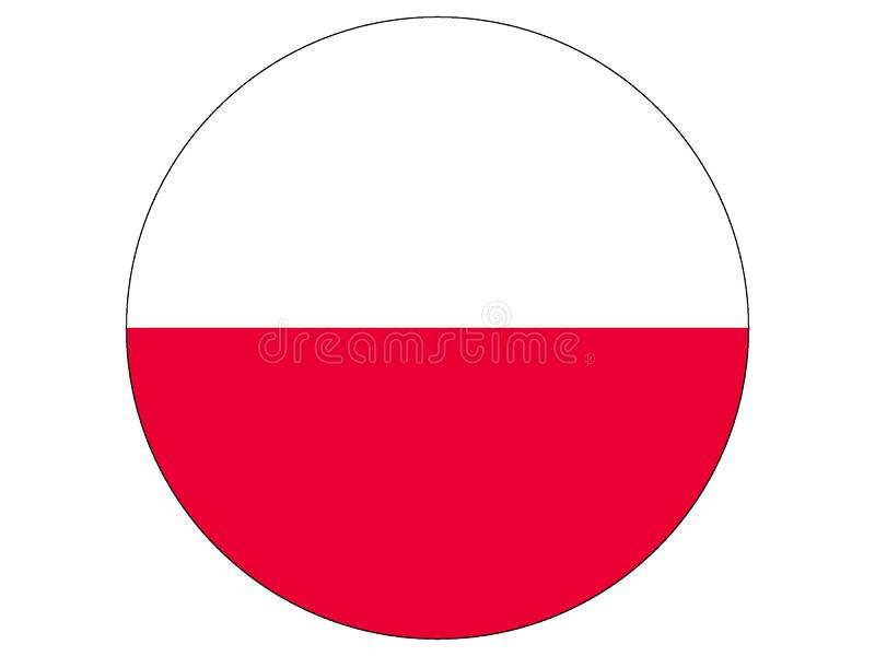 Round flag of Poland stock illustration
