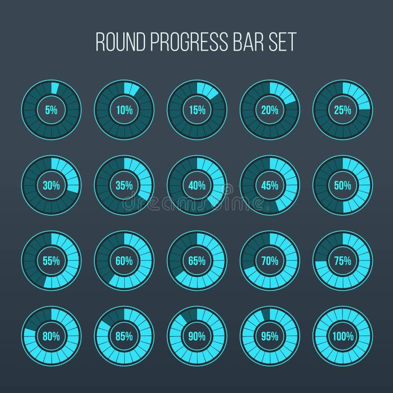 Vector illustration of round progress bar. Circle indicators status. Loading and buffering percentage icon set. Circular interval royalty free illustration
