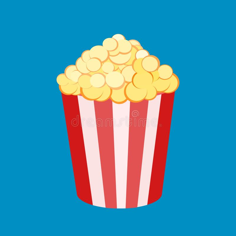 Vector illustration of a round striped popcorn box bucket with pop corn . Movie snack. Time to watch and eat. Isolated in white stock illustration