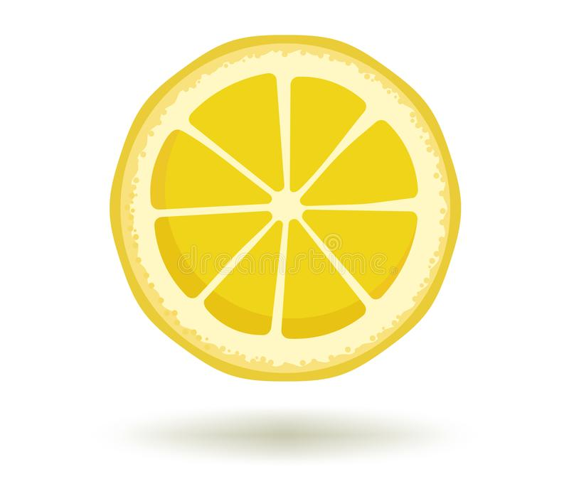Citrus fruit.Vector illustration of round bright yellow lemon slice with a shadow isolated on a white background royalty free illustration