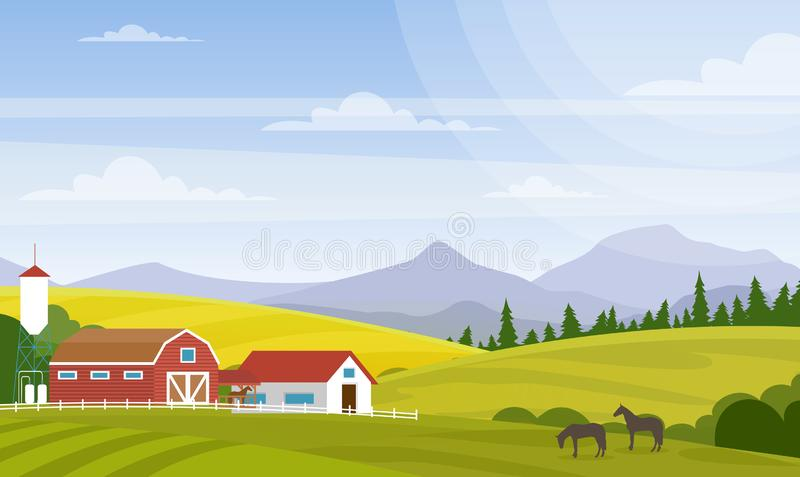 Vector illustration of rural landscape. Beautiful countryside with farm and horses on fields, house and mountains for. Web design development, natural vector illustration