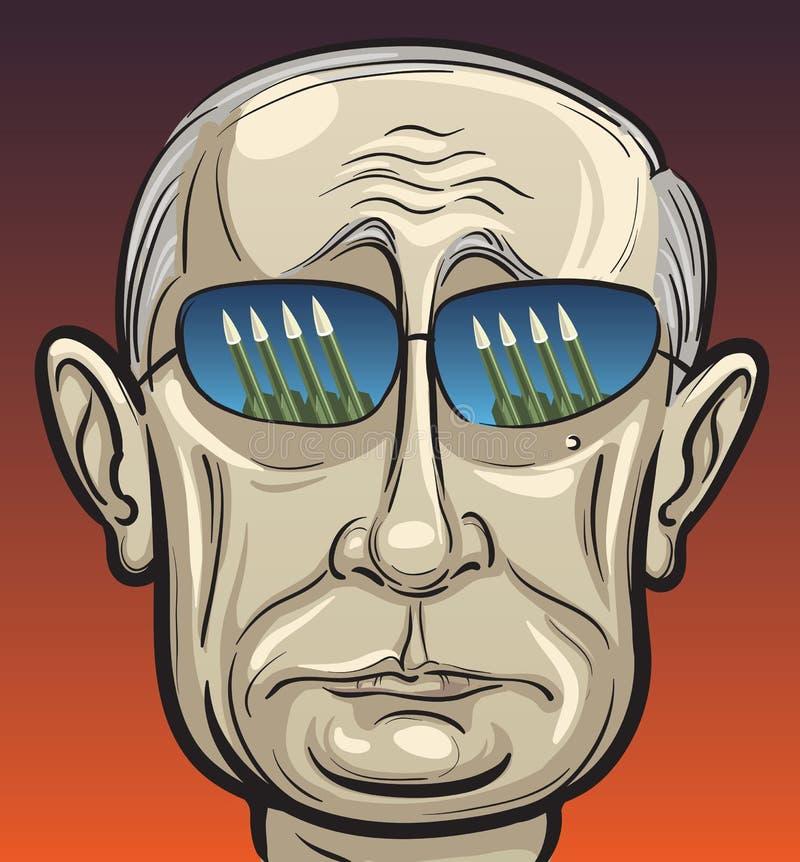 Vector illustration of Russian president Putin threatening royalty free illustration