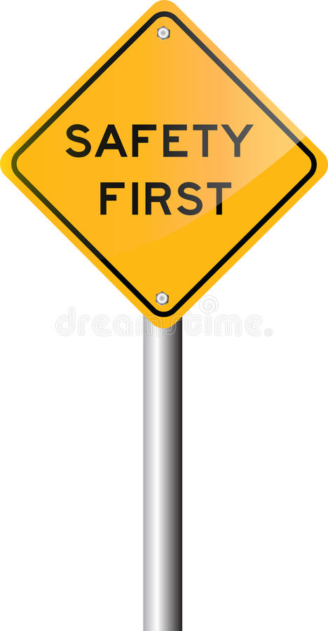 vector illustration safety first road sign stock image. Black Bedroom Furniture Sets. Home Design Ideas