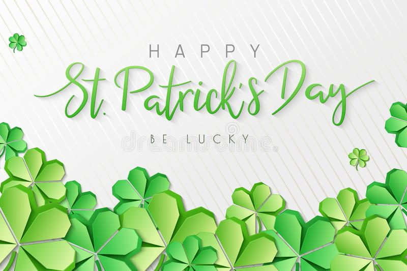 Vector illustration of saint patricks day greetings banner template with hand lettering label - happy st. patrick`s day- stock illustration
