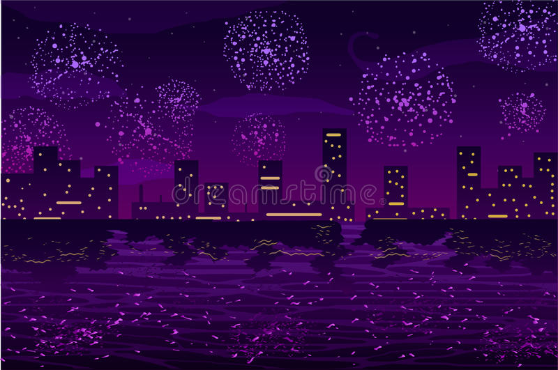 Vector illustration. Salutes and fireworks in night city on the ocean royalty free illustration