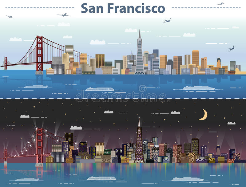 Vector illustration of San Francisco at day and night stock illustration