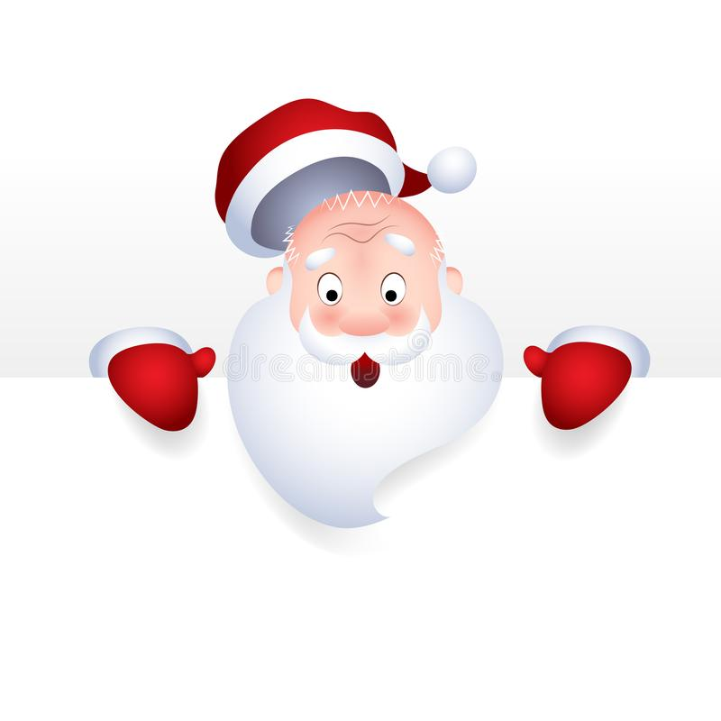 Vector illustration of Santa Claus cartoon character emotion surprise for a blank sign, web header page. stock illustration