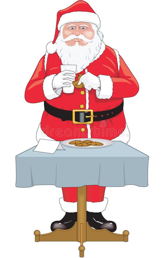 Santa Eating Cookies Vector Illustration stock illustration