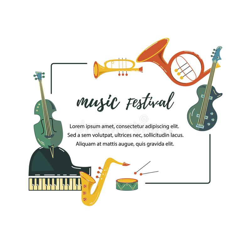 Vector illustration with saxophone, piano, violin, french horn, drum, guitar, trumpet. stock illustration