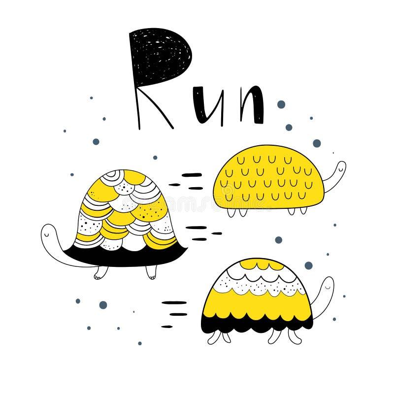 Vector illustration in Scandinavian style, cute turtle . Baby print. Cartoon background. royalty free illustration
