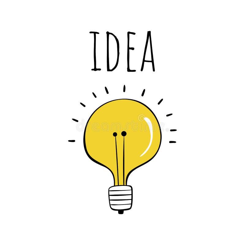 Vector illustration in Scandinavian style. Yellow light bulb with the inscription stock illustration