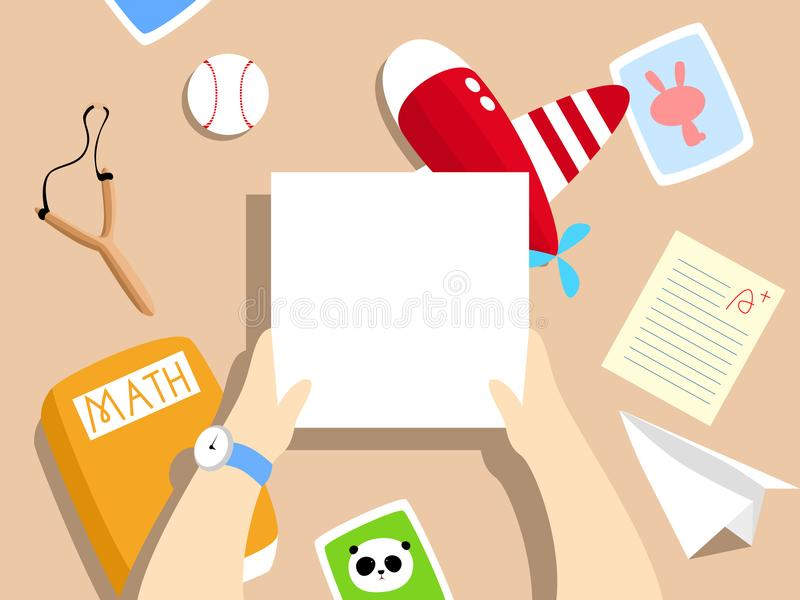 Vector Illustration: school boy`s desk with toy plane, paper plane, test paper, math textbook, blank paper / card. stock illustration