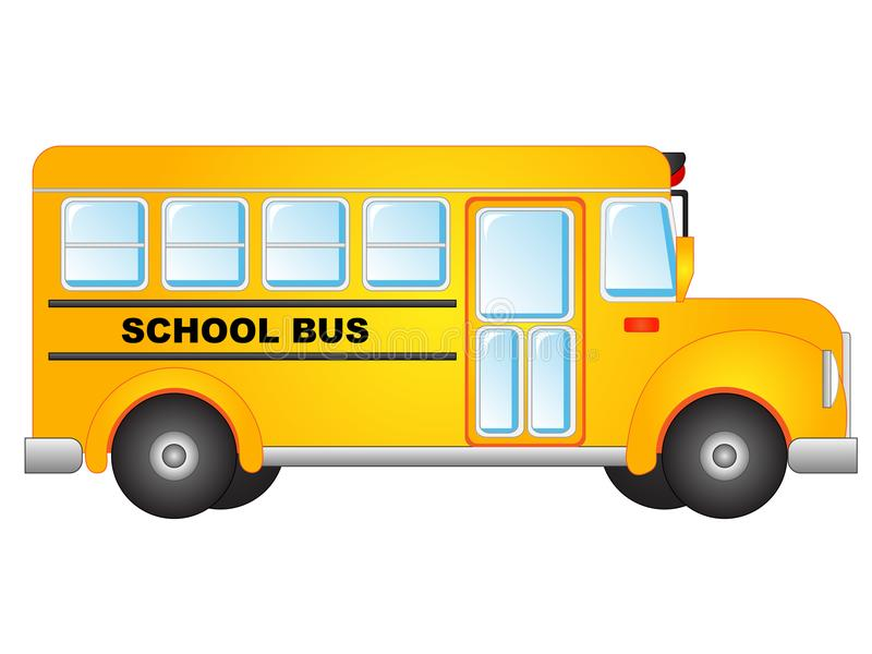 Vector Illustration School Bus Clipart. Vector Illustration clipart of a cute yellow school bus isolated on white background royalty free illustration