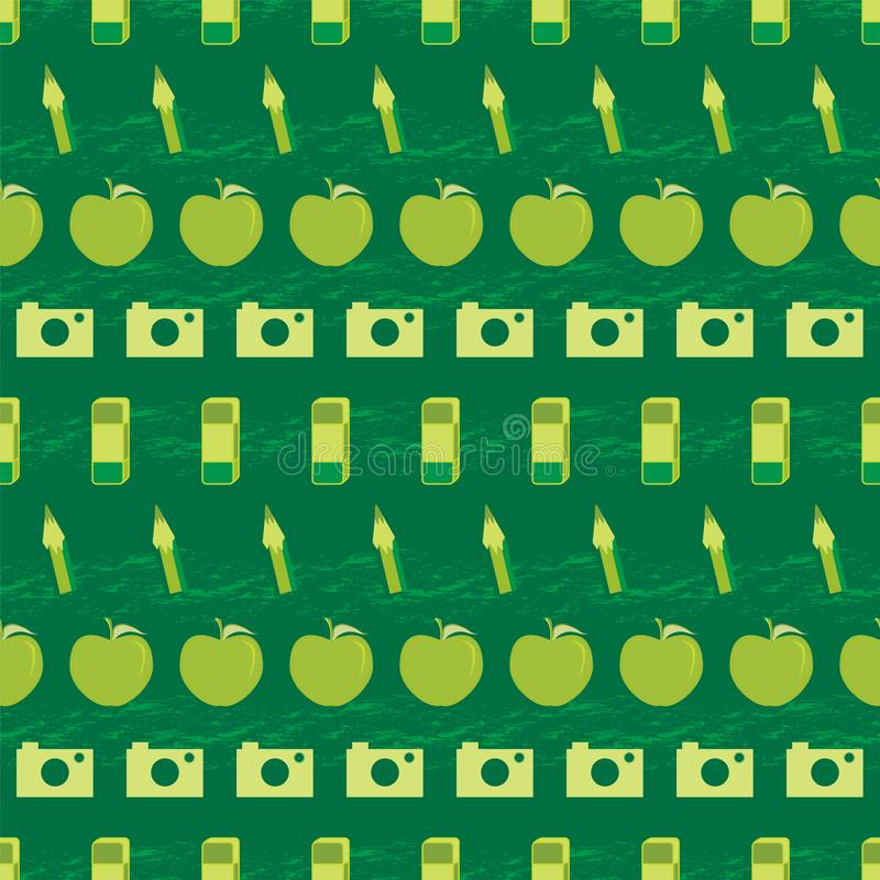 Vector illustration of school supplies. Vector illustration of cameras, apples, eraser symbols and charcoal textured stripes in shades of green. Seamless pattern vector illustration