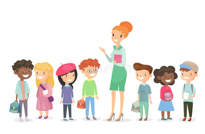 Vector illustration of schoolchildren group with teacher standing together. Boys and girls together with woman teacher vector illustration