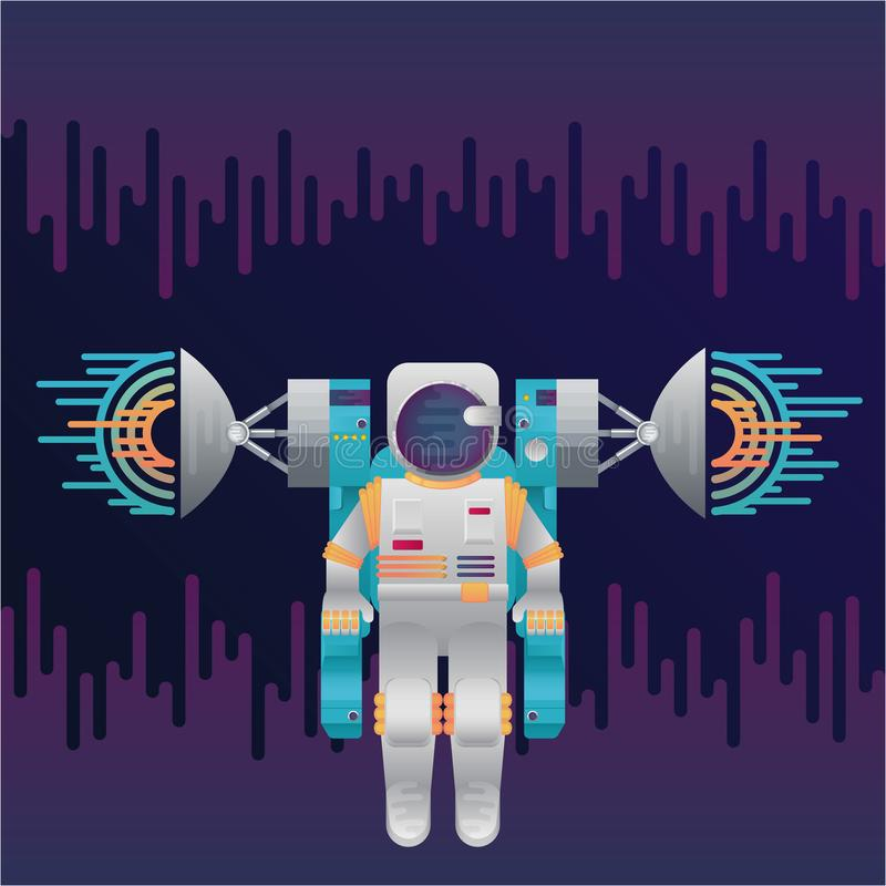 Vector Icon Of Astronaut With Sound Radar In Space Stock ...