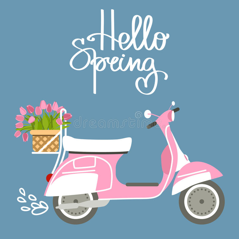 Vector illustration with scooter and tulips royalty free illustration