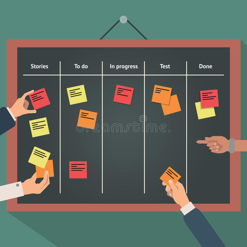 Vector illustration of scrum agile board with flat hand and stickers. royalty free illustration