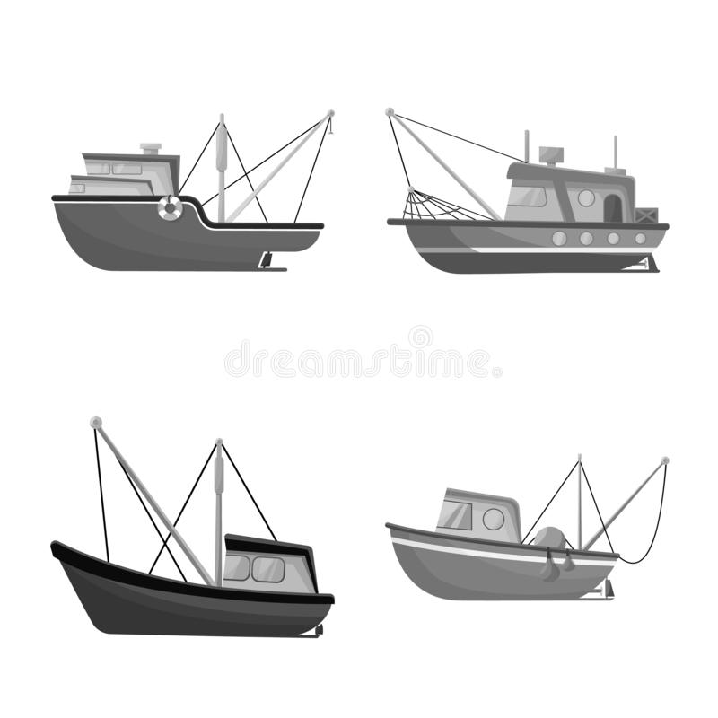 Vector illustration of sea and speedboat symbol. Collection of sea and industrial stock symbol for web. Isolated object of sea and speedboat sign. Set of sea vector illustration