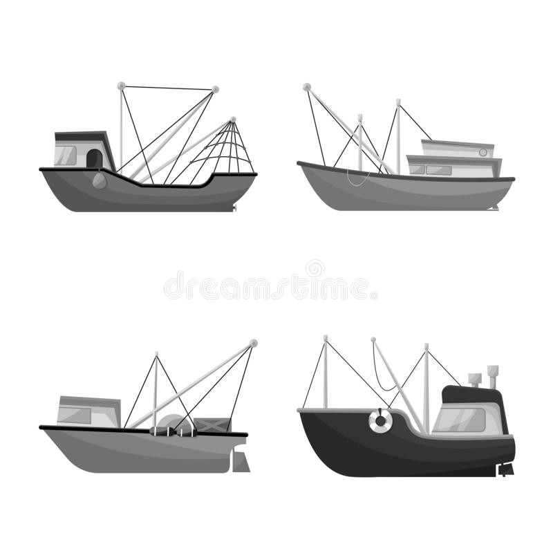 Vector design of sea and speedboat icon. Collection of sea and industrial vector icon for stock. Vector illustration of sea and speedboat symbol. Set of sea and stock illustration