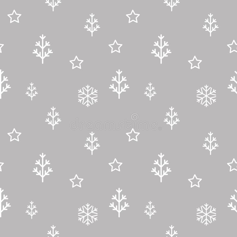 Vector seamless abstract christmas tree, stars and snowflakes pattern stock illustration