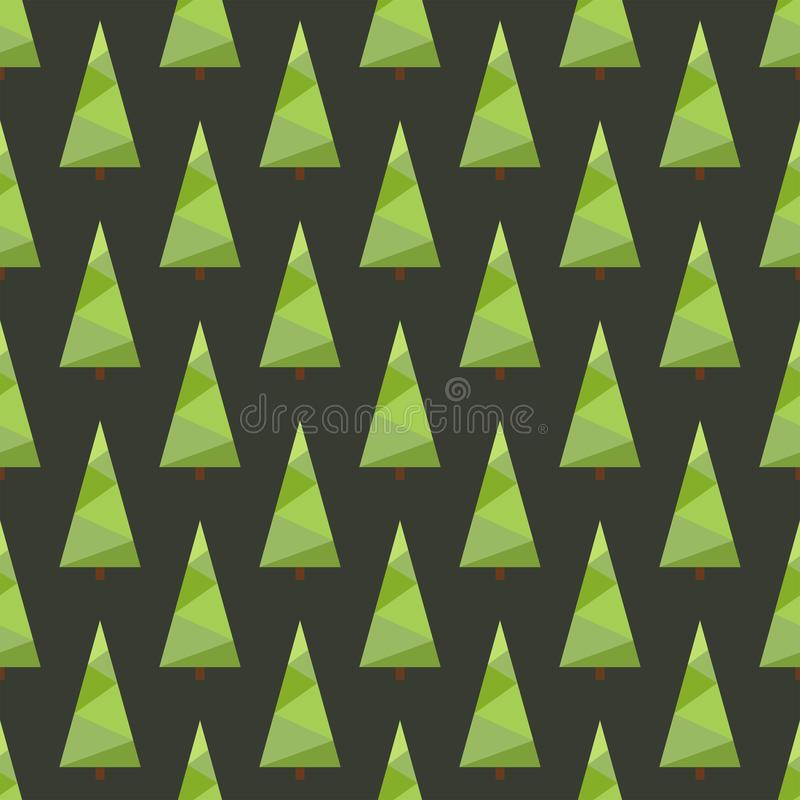 Vector illustration: seamless christmas tree pattern with geometric green colored spruces stock illustration