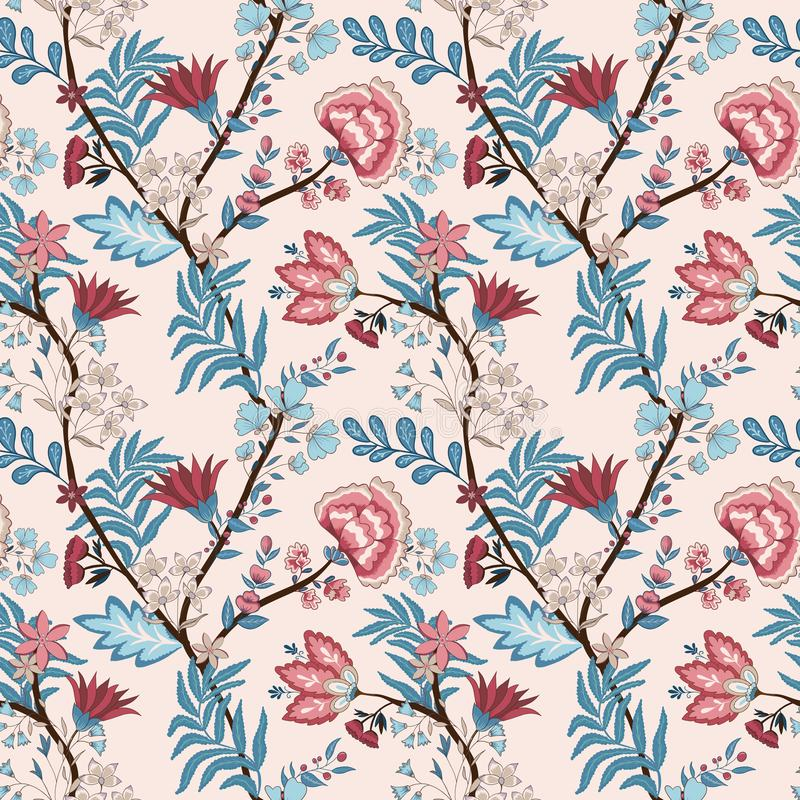 Vector illustration of a seamless floral pattern. Indian and oriental style royalty free illustration