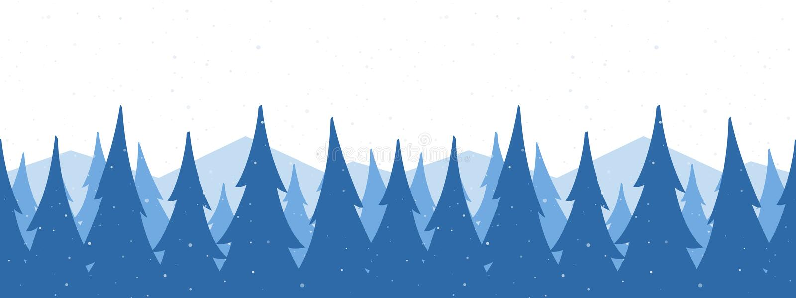 Vector illustration: Seamless mountains background. Template of Christmas greeting banner with winter snowy pine forest.  royalty free illustration