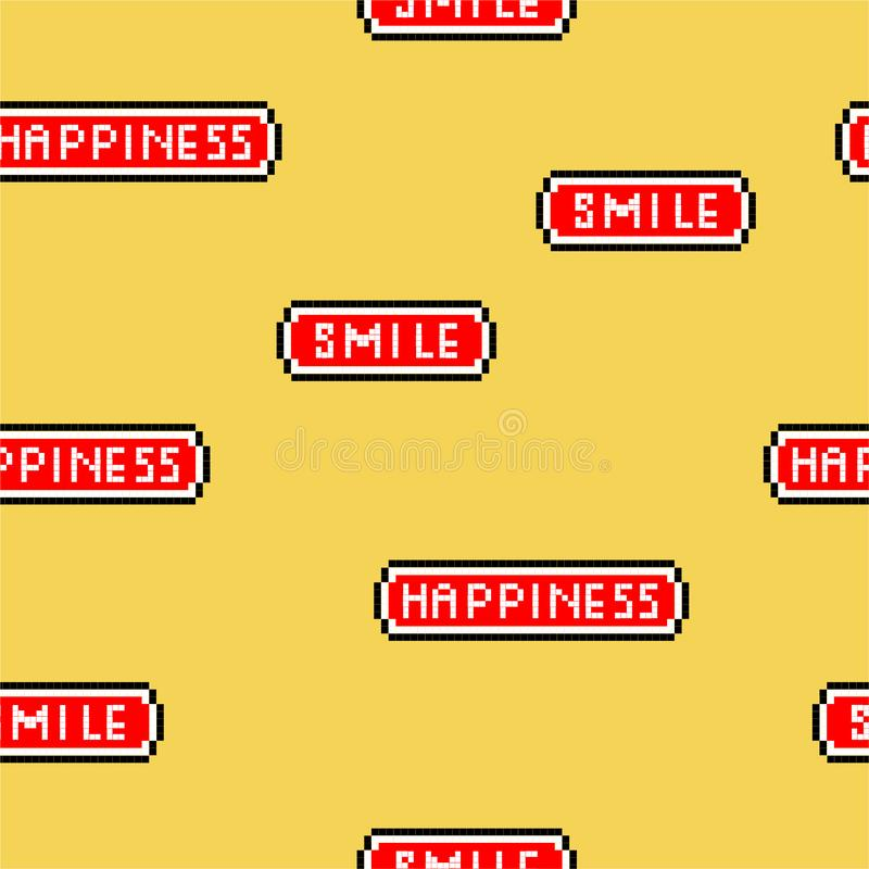 "Vector illustration seamless patter ""Happiness and smile"" wording in pixel video game 8 bit font. retro stylen ,Design for. Fashion,web,wallapaper royalty free illustration"