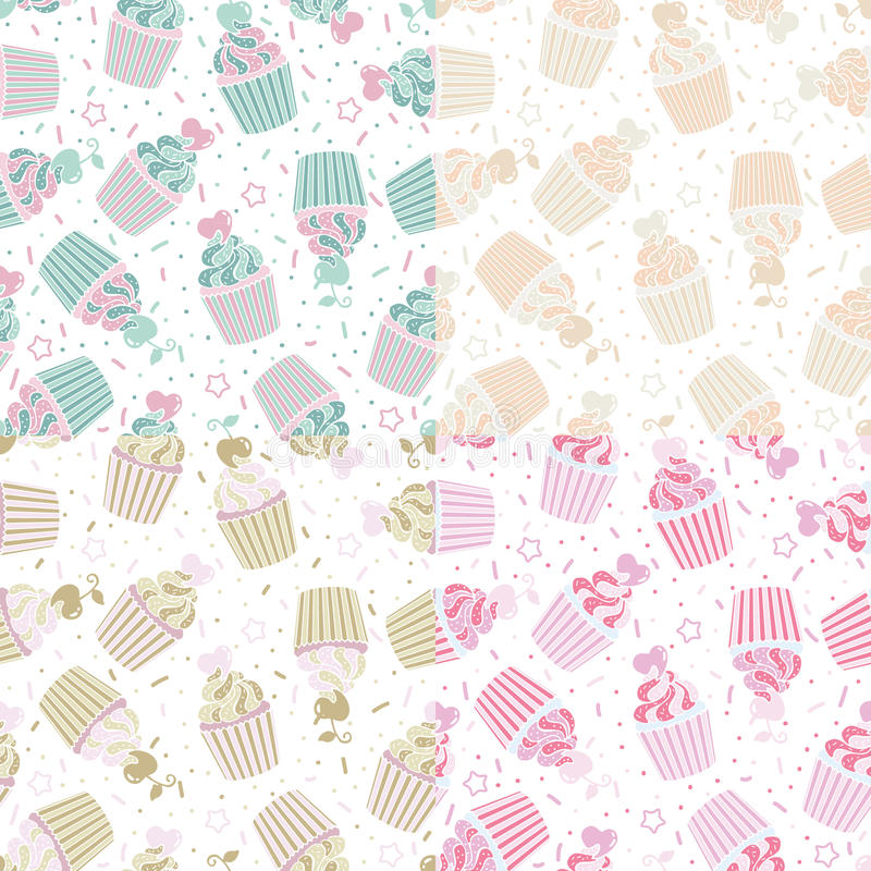 Vector illustration seamless pattern of cute cupcakes royalty free stock photo