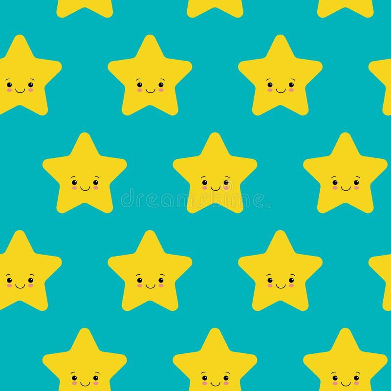 Vector illustration. Seamless pattern with falling cute yellow stars white background. Weather symbol royalty free illustration