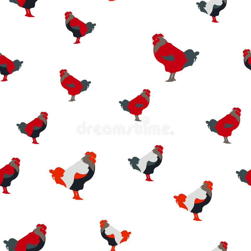 Download Vector Illustration Of A Seamless Pattern With Full-color Images Of Rooster, Flat Style Stock Illustration - Illustration of isolated, colour: 83706640
