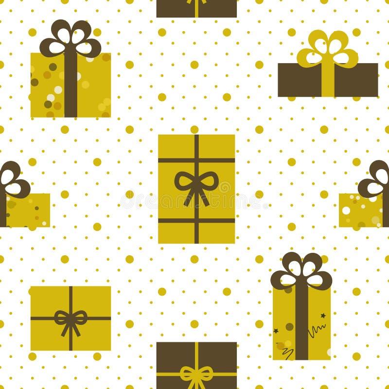 Vector illustration seamless pattern gifts stock illustration