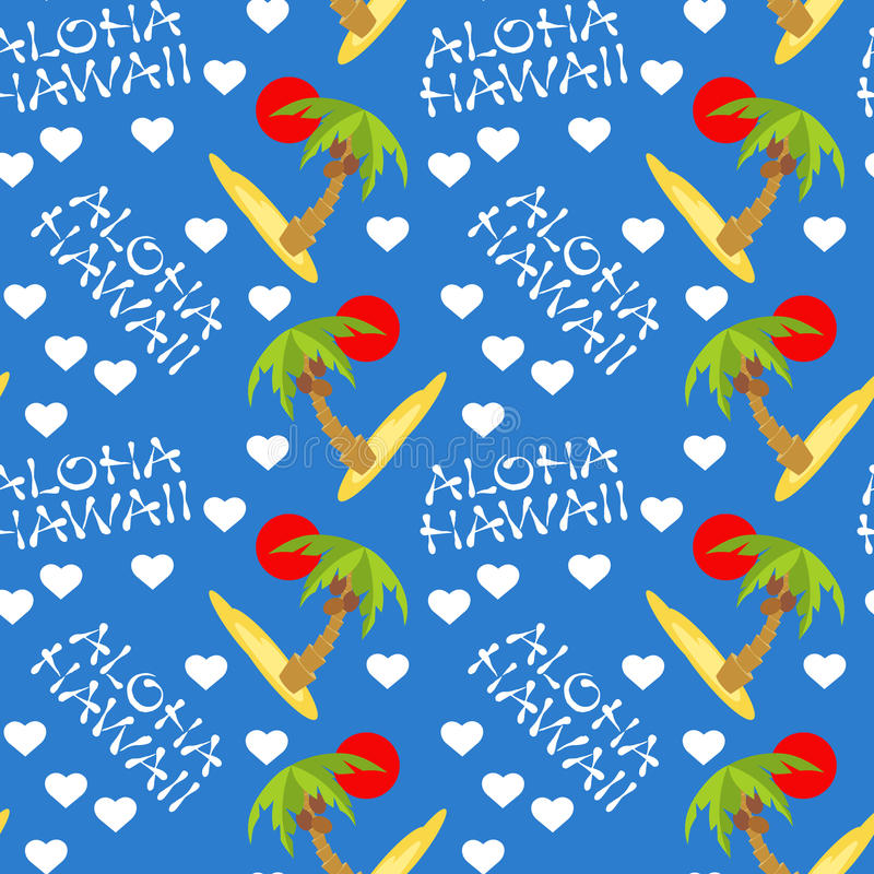 Vector illustration seamless pattern for Hawaii traveling. Tropical island with palm tree. Vector illustration seamless pattern. Tropical island with palm tree stock illustration