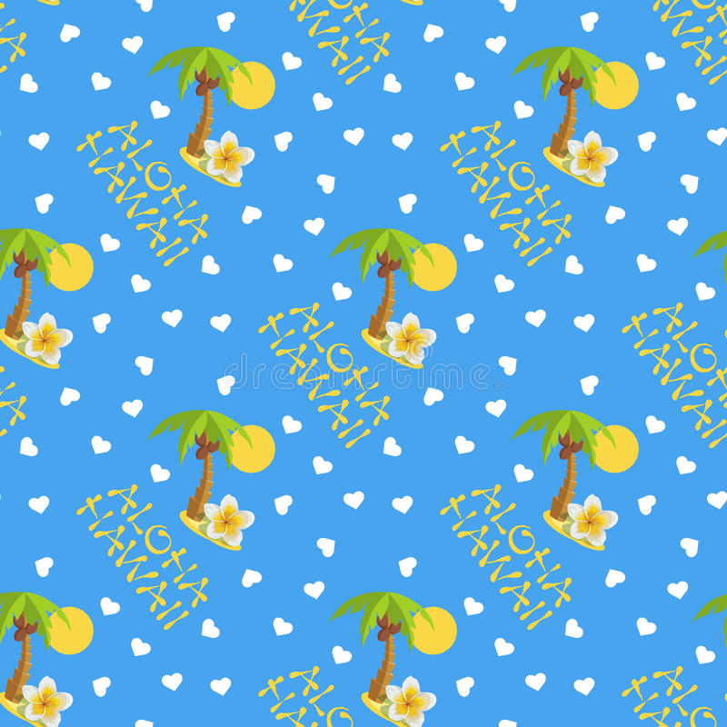 Vector illustration seamless pattern for Hawaii traveling. Tropical island with palm tree. Vector illustration seamless pattern. Tropical island with palm tree royalty free illustration