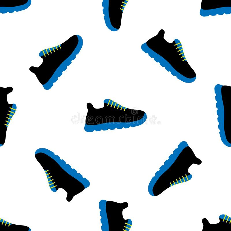 Vector illustration seamless pattern with icons of sports running shoes sneakers. vector illustration