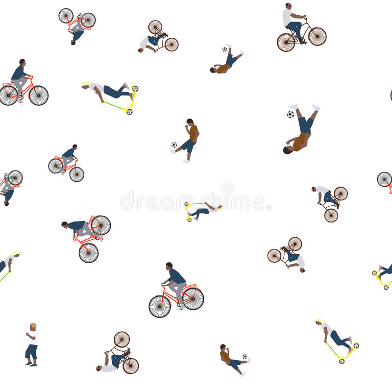 Download Vector Illustration Of A Seamless Pattern With The Images Of People Active Summer Vacationers, Flat Style Stock Illustration - Image: 83705435