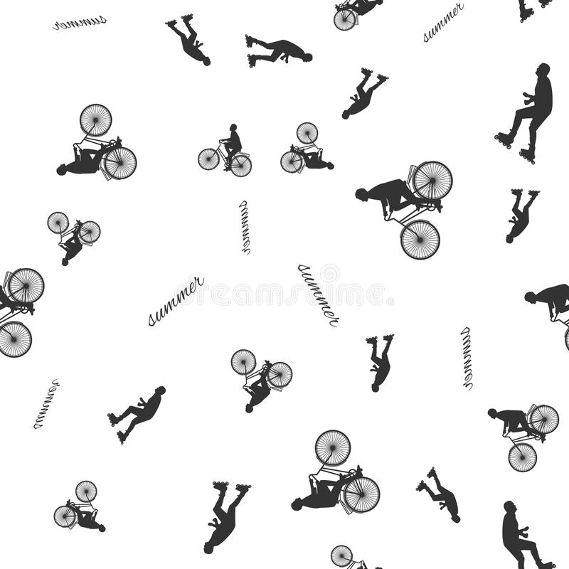 Download Vector Illustration Of A Seamless Pattern With The Images Of People Active Summer Vacationers, Flat Style Stock Illustration - Image: 83706944