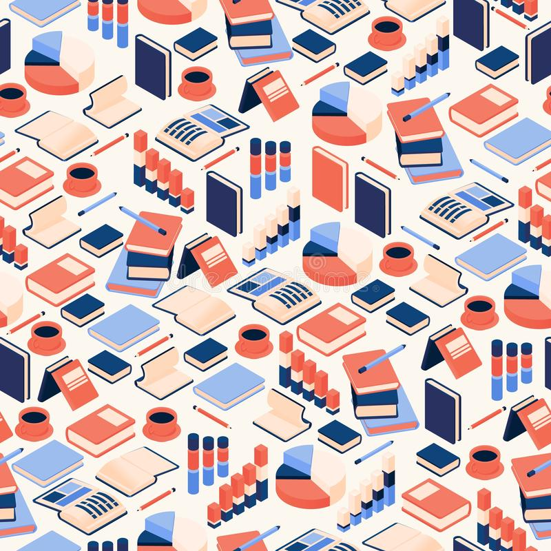 Vector illustration seamless pattern of the isometric books with diagrams and graphs. Education and bookstore background in vector illustration