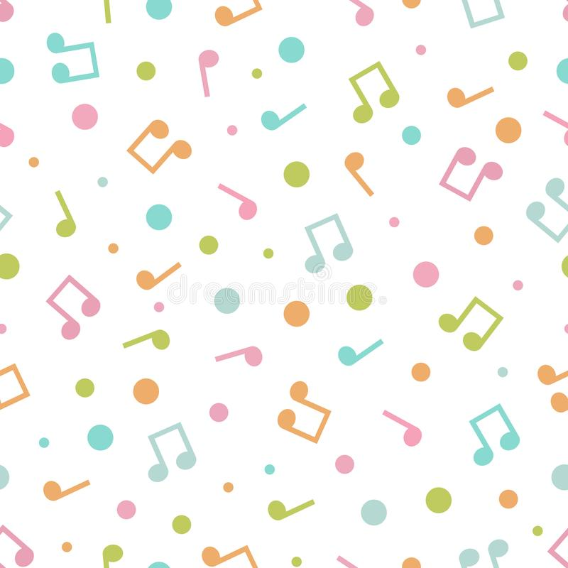 Vector illustration of seamless pattern of music notes and circles vector illustration