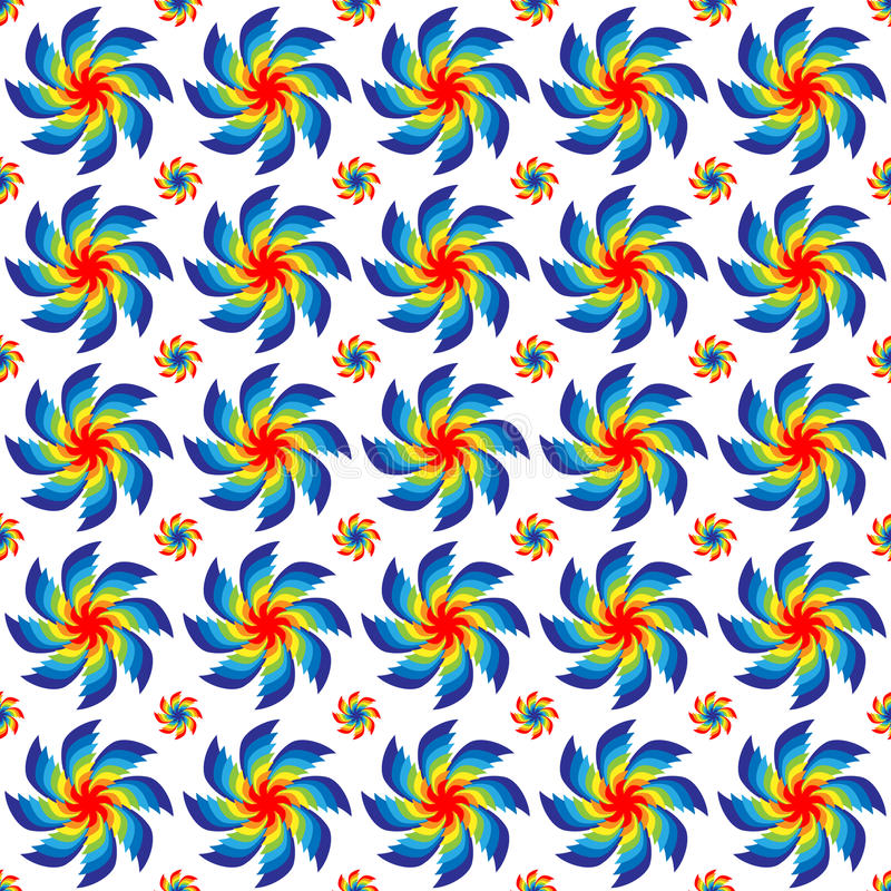 Vector illustration seamless pattern of rotating bright colors of all colors of the rainbow arranged in rows on a white background royalty free illustration