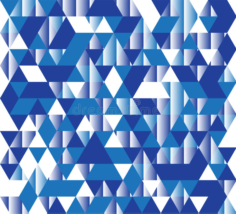 Vector illustration of a seamless pattern of simple triangles in different shades of blue and white colors.  royalty free illustration
