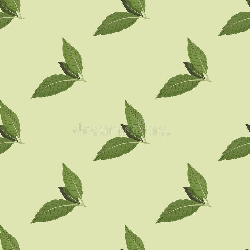 Vector illustration of a seamless pattern of tea leaves on a green background. vector illustration