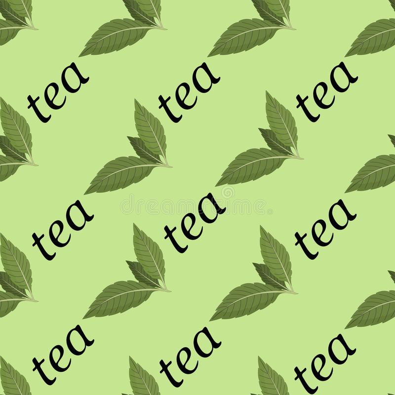 Vector illustration of a seamless pattern of tea leaves and the words of tea on a light background. vector illustration