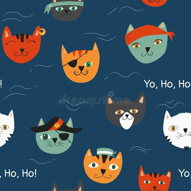 Free Vector Illustration, Seamless Pattern With Pirates Cats And Waves Royalty Free Stock Photo - 217834455