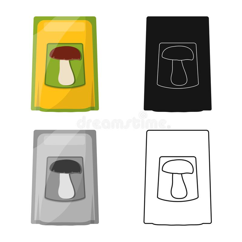Vector illustration of seasoning and packaging logo. Collection of seasoning and vegetable vector icon for stock. Isolated object of seasoning and packaging vector illustration