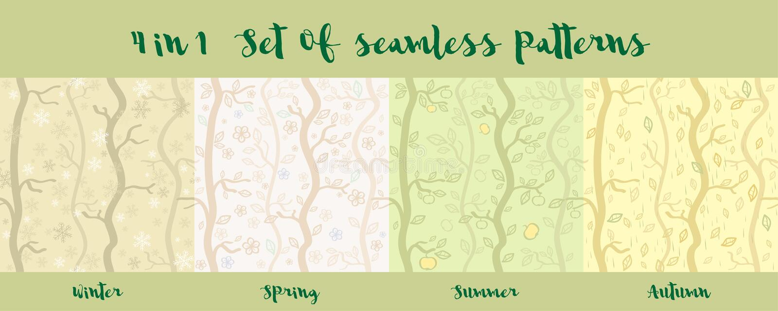 Set of seamless patterns of seasons. Forest in different seasons stock illustration