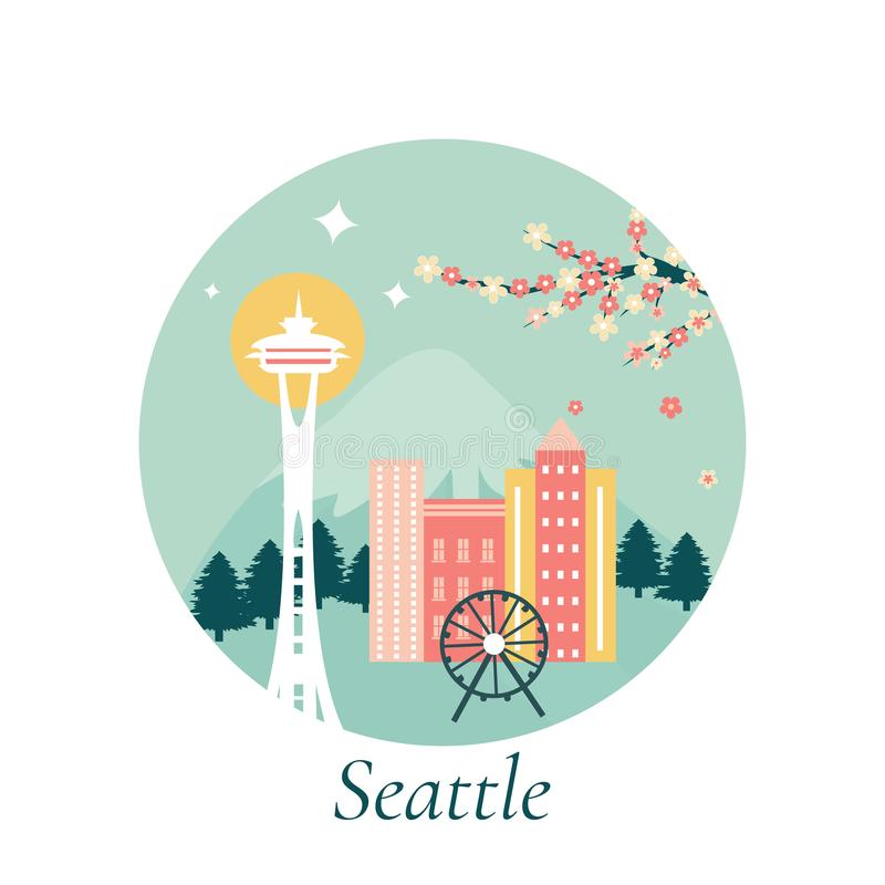 Vector illustration of Seattle city with landmarks vector illustration