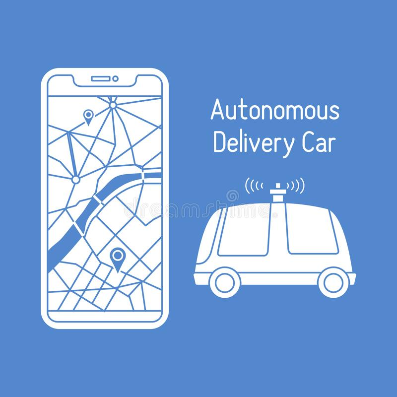 Autonomous delivery car Navigation remote control. Vector illustration with self-driving car, automated car, autonomous vehicle,  driverless car. Navigation royalty free illustration