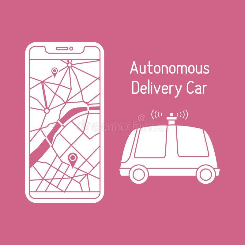 Autonomous delivery car Navigation remote control. Vector. Vector illustration with self-driving car, automated car, autonomous vehicle, driverless car vector illustration